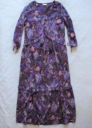 Платье цветочный принт свободное с оборками прозрачное шифоновое туника макси купить цена