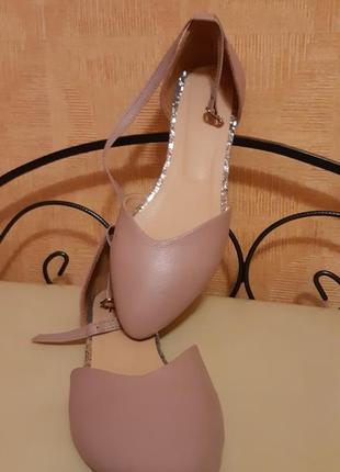 Кожаные туфли на низком ходу, светлые удобные балетки