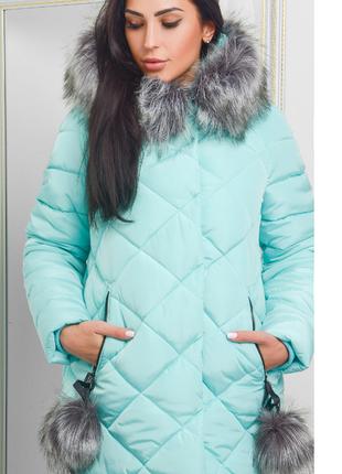 Зимняя женская куртка с капюшоном, на капюшоне мех, новая