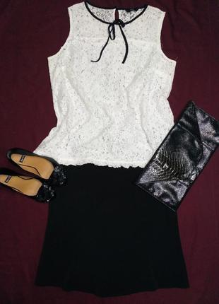 Классическая белая кружевная блузка  размер 18/46 f&f
