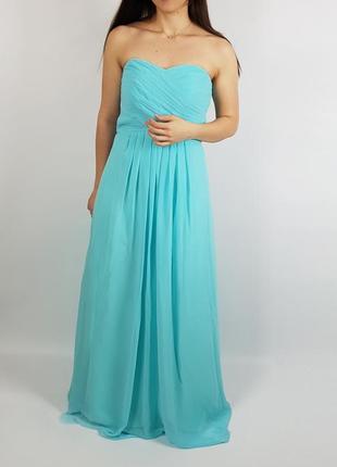 Макси вечернее выпускное длинное платье цвета тиффини размер s