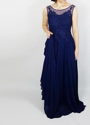 Длинное вечернее выпускное новогоднее макси платье в пол синее размер s