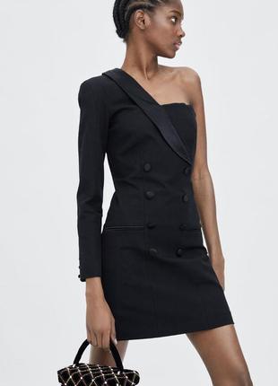 Платье на одно плече платье пиджак один рукав zara оригинал блейзер жакет