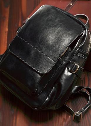 7faf90a688c1 Модный стильный городской кожаный женский casual рюкзак черный ручная работа