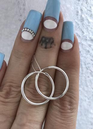 Серьги серебряные 2 см сережки кольца шарнир 2086