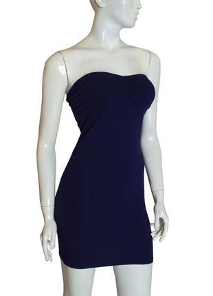 Бандажное трикотажное платье-бюстье без бретелей
