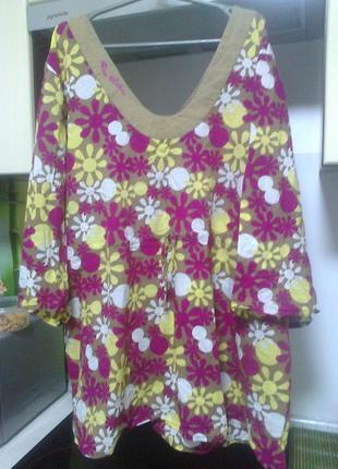 Блуза от blu wahoo, хлопок, для всех типов фигуры, size 28, наш 60-64 пог и поб 73
