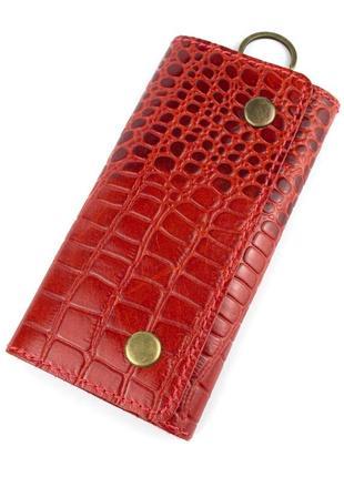 Ключница кожаная lika (красный крокодил)