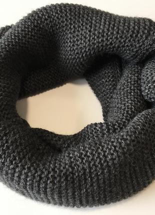 Шарф хомут вязаный темно-серый
