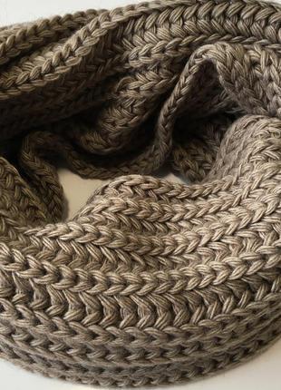 Шарф хомут вязаный коричневый