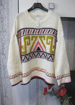 Самый настоящий теплый каминный свитер стильный принт роскошной леди большой хххххл 54-56