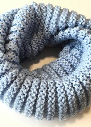 Шарф хомут вязаный голубого цвета шерстяной шарф in ua