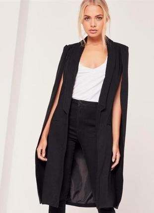 Новое черное пальто кейп missguided , кашемировое пальто