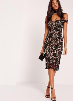 Неймовірна мереживна сукня на плечі \ кружевное платье на плечи миди boohoo