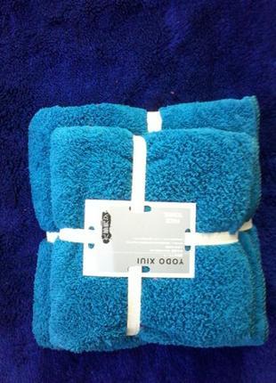 Комплект  полотенца микрофибра  в подарочном мешочке баня и лицо бирюза