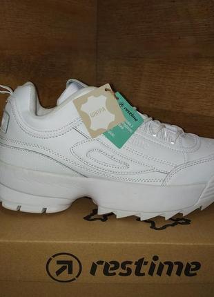Модные кроссовки из натуральной кожи restime в стиле fila disruptor 2  р.36-40 a6fb4f2d46e
