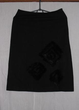 Черная шерстяная юбка  bgn со вставками из меха, размер 36 (украинский 44)