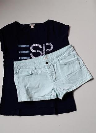 Джинсовые короткие шорты мятного цвета