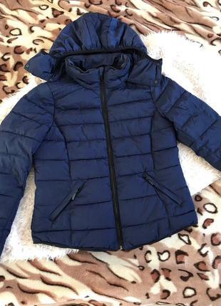 Куртка весна синяя короткая холлофайбер