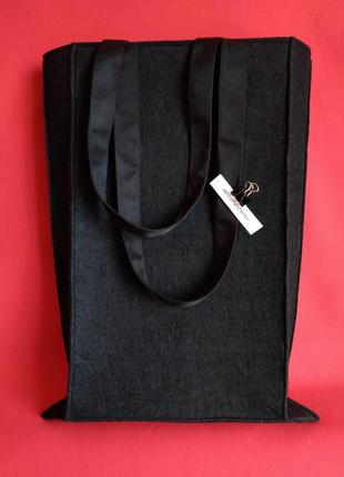Чёрная сумка фетр, войлок, зимняя сумка