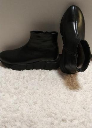 Кожаные ботинки fashion зима