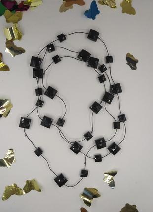 Бусы ожерелье черные на силиконовом шнуре