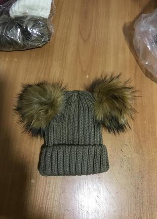 Вязаная шапка с мехом серо-коричневая!