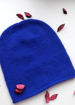 Шапка синяя из пуха норочки