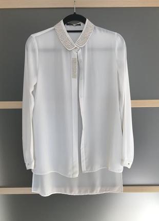 Шифоновая блузка с заклепками. s/m блузка свободного кроя.