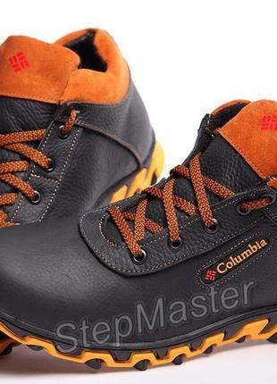 Кроссовки кожаные зимние columbia track black-brown mk ii