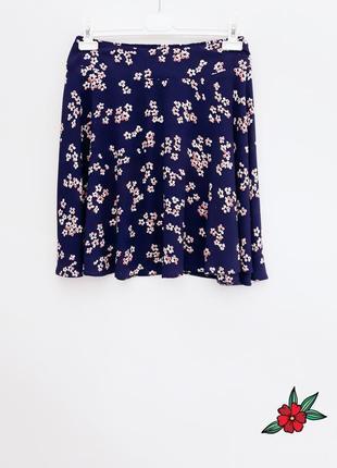 Легкая юбка короткая юбка в цветочный принт на резинке большой размер батал