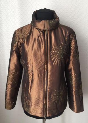 Красивая весенняя куртка с паетками от бренда joy, размер нем 42, укр 48-50