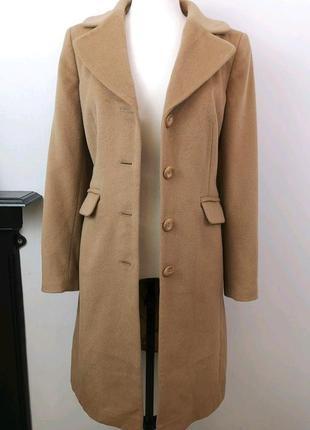 Роскошное классическое шерстяное пальто цвета кэмел 100% ангора + шерсть бежевое
