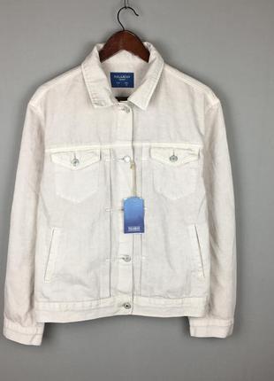 Женская джинсовка pull & bear джинсовая куртка новая белая бежевая большой размер