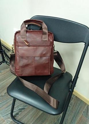 """Большая мужская сумка кожаная коричневая """"шерлок brown"""""""
