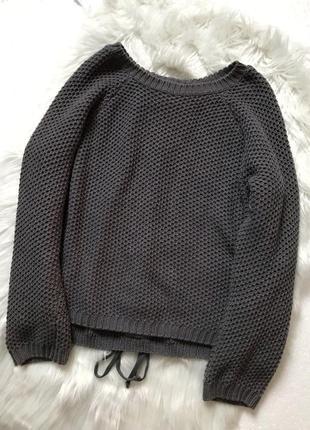 Свитер, кофта, джемпер, вязанный, теплый, котон, шнуровка, с-м