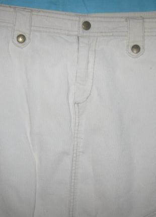 Юбка вельветовая белая прямая.дешево. бренд vero moda.
