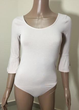 Нежный коттоновый боди блуза, с вырезом на спинке, рюши, рукава клеш, бело розовый, пудра