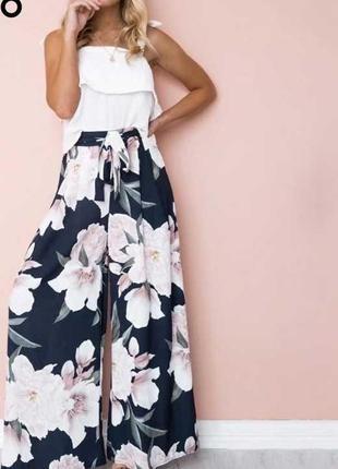 Брюки юбка с резинкой палаццо высокая талия черный в крупный цветочный принт батал большой
