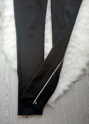 Черные плотные лосины с широким поясом длинными молниями бантами сзади леггинсы замками3