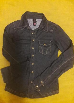 Рубашка джинс трикотаж турция xs