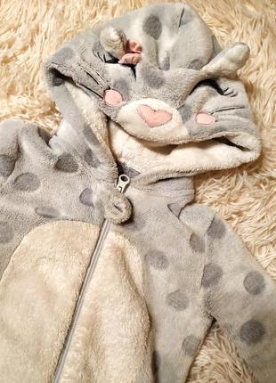 Человечек слип плюшевый котик 12-18 18-24 пижама