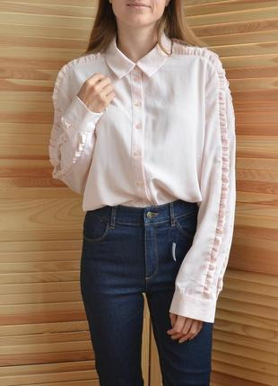 Нежно розовая рубашка с рюшами tu ніжно рожева сорочка з рюшами