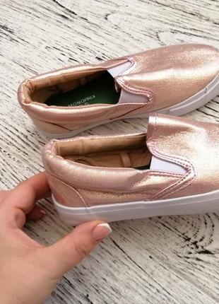 Золотистые мокасины кеды слипоны балетки для девочки 29 размер