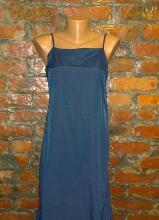 Платье из мокрого шелка а-силуэта esprit глубокого синего оттенка