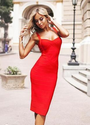 Шикарное сексуальное красное бандажное платье миди футляр herve leger