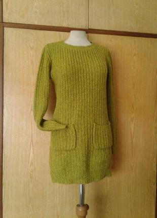 Теплый грубой вязки салатовый свитер,  s.