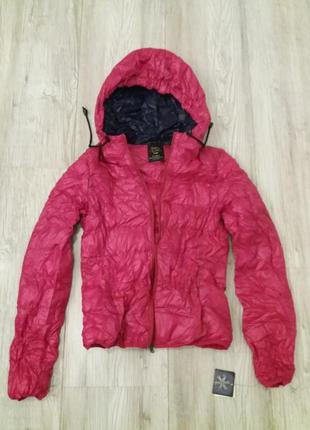 Zara оригинал куртка пуховик спортивная с капюшоном розовая фуксия размер s-m