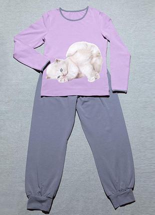 Пижама для девочки, с котиком, хлопок, 134