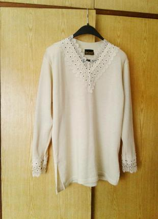 Праздничная шерстяная блузка- джемпер молочного цвета, 3хl -5xl.